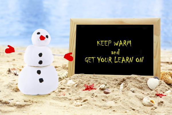 Christmas snowman on beach with photoframe. Christmas and New Ye